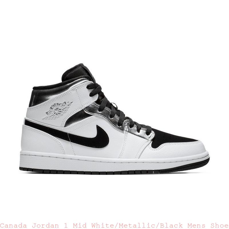 Canada Jordan 1 Mid White Metallic Black Mens Shoe – cheap kid ... 595ad9382